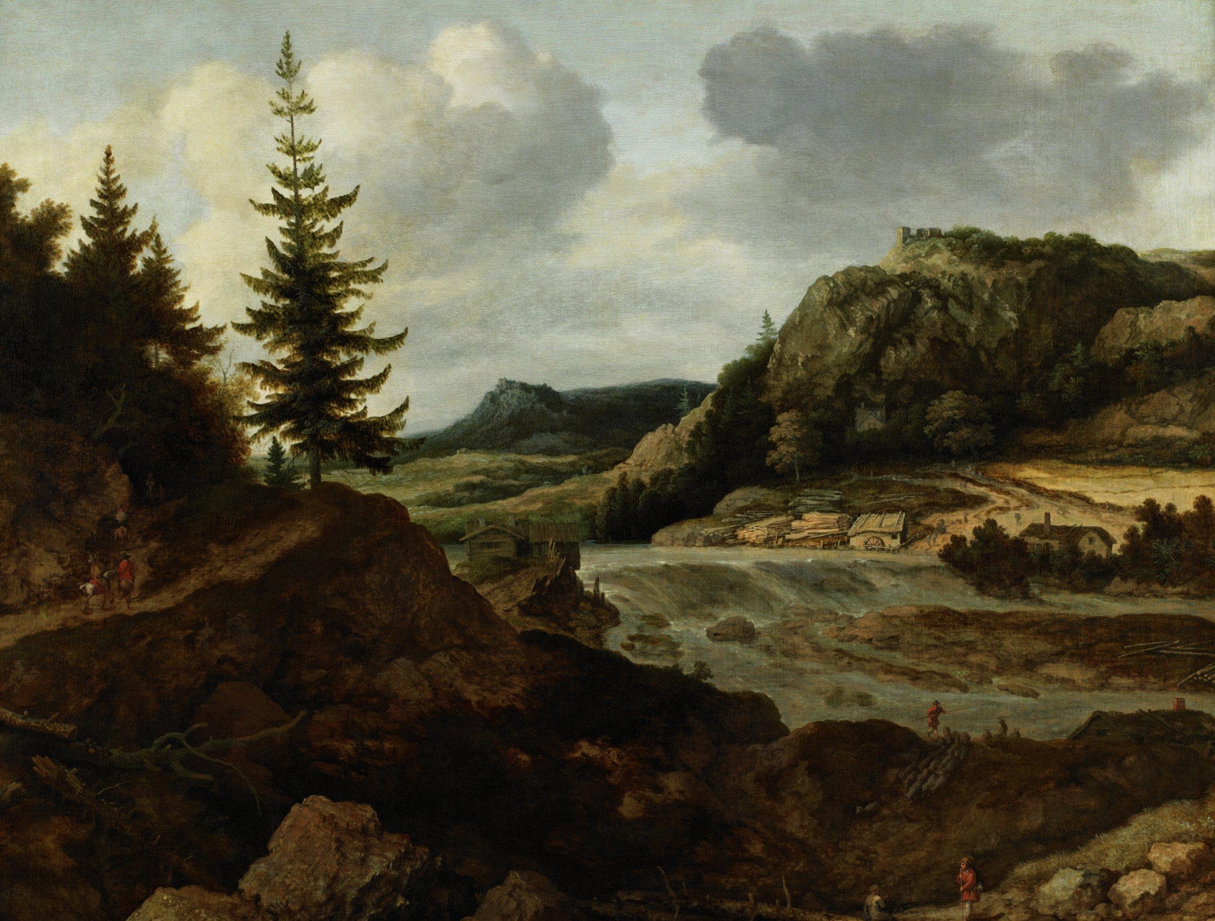 A Mountainous River Landscape with Travellers, Allart van Everdingen, oil on canvas