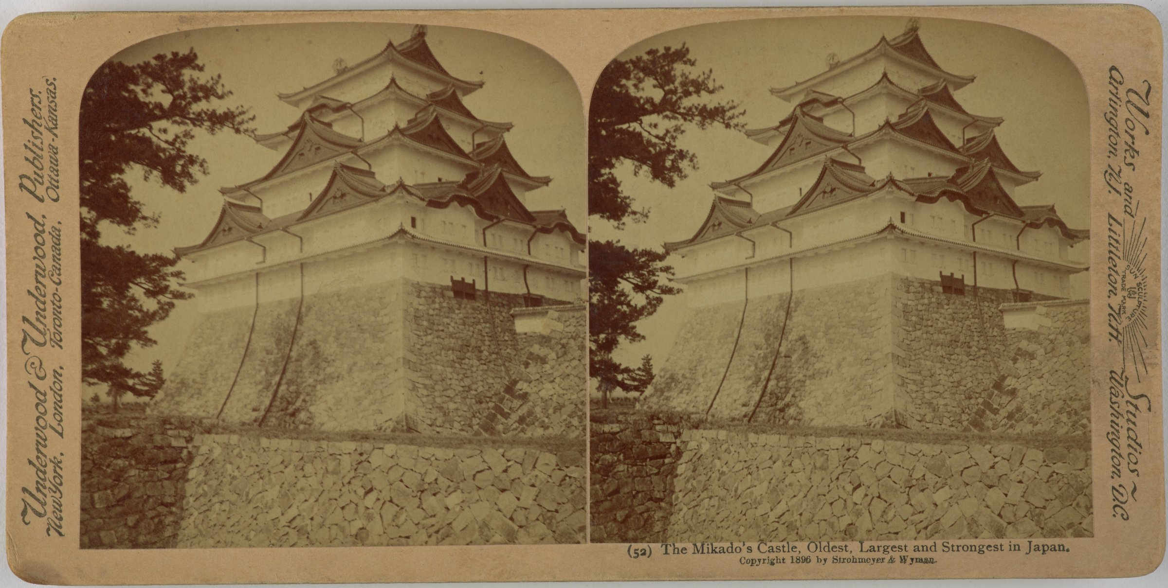 The Mikado's Castle, Oldest, Largest and Strongest in Japan., Underwood & Underwood Publishers, gelatin silver prints mounted on card