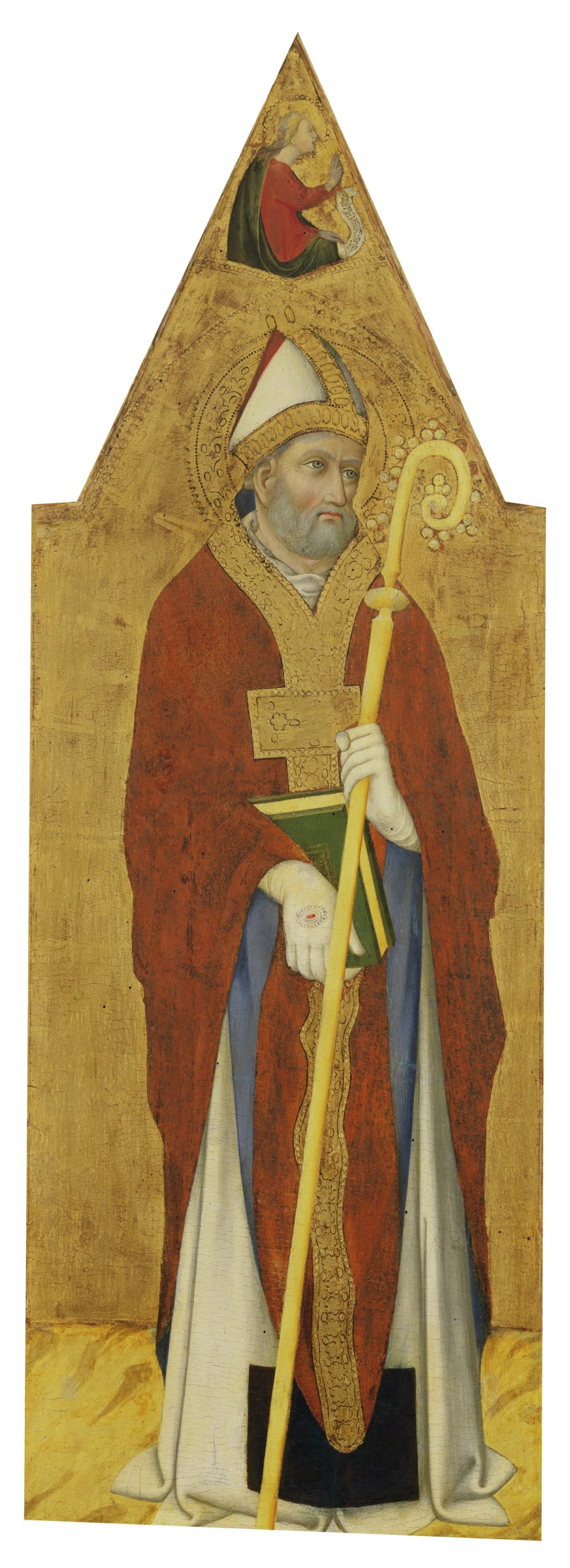 In this narrow, vertical painting, Saint Augustine stands holding a book and a crosier. Above his head hovers the angel Gabriel, who is speaking to the Virgin Mary in the companion painting of Saint Benedict.