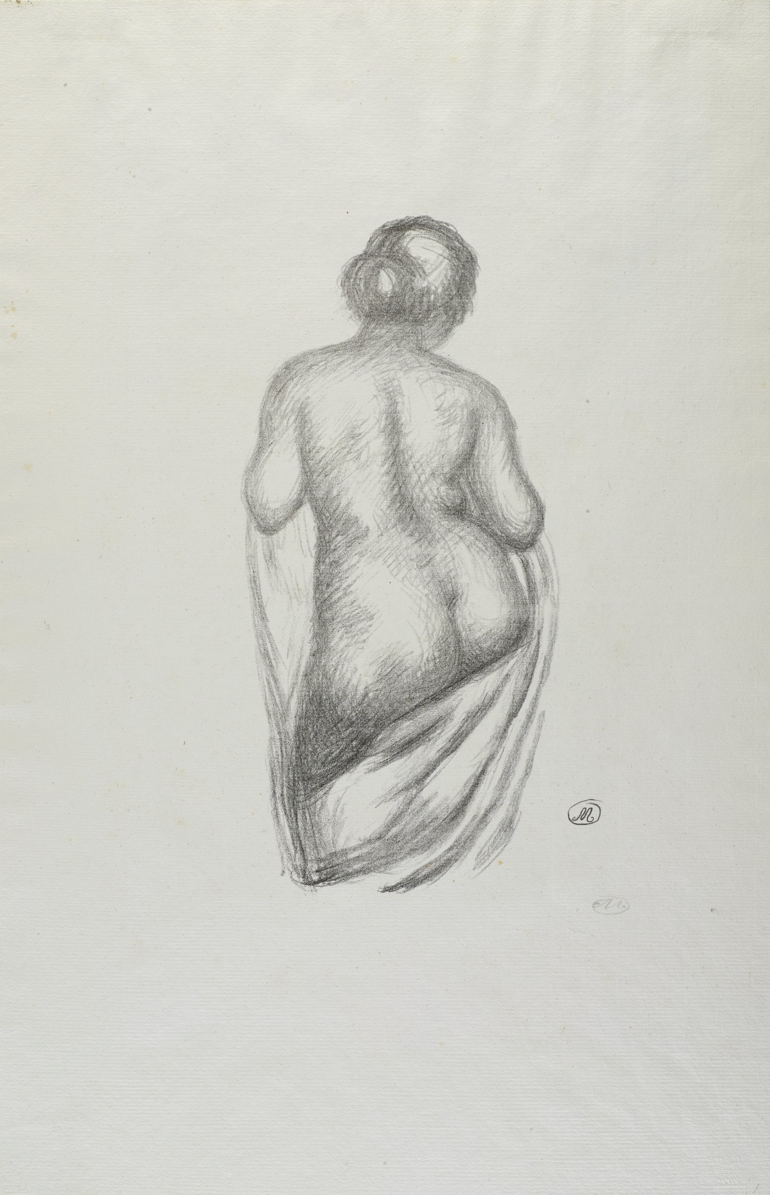 Three quarter length woman seen from behind, weight on right leg. Arms bent to hold drapery in front; drapery falls from the front to under buttocks. Hair in a bun.