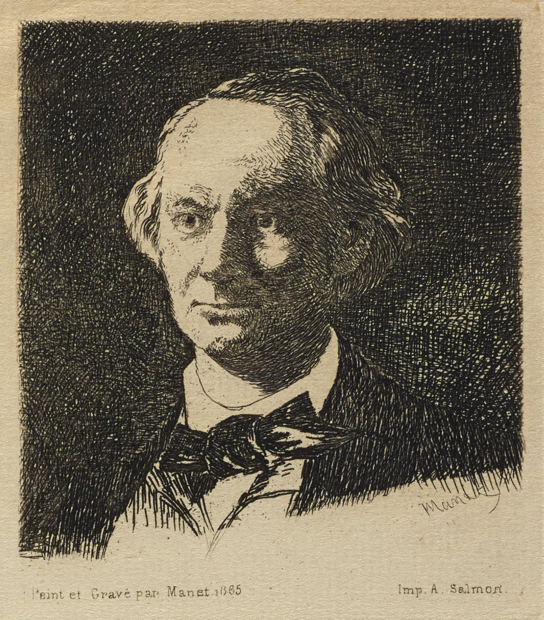 Bust portrait of Charles Baudelaire. This state was used as an illustration for the following book: Charles Asselineau, Charles Baudelaire: sa vie et son oeuvre, Paris 1869.