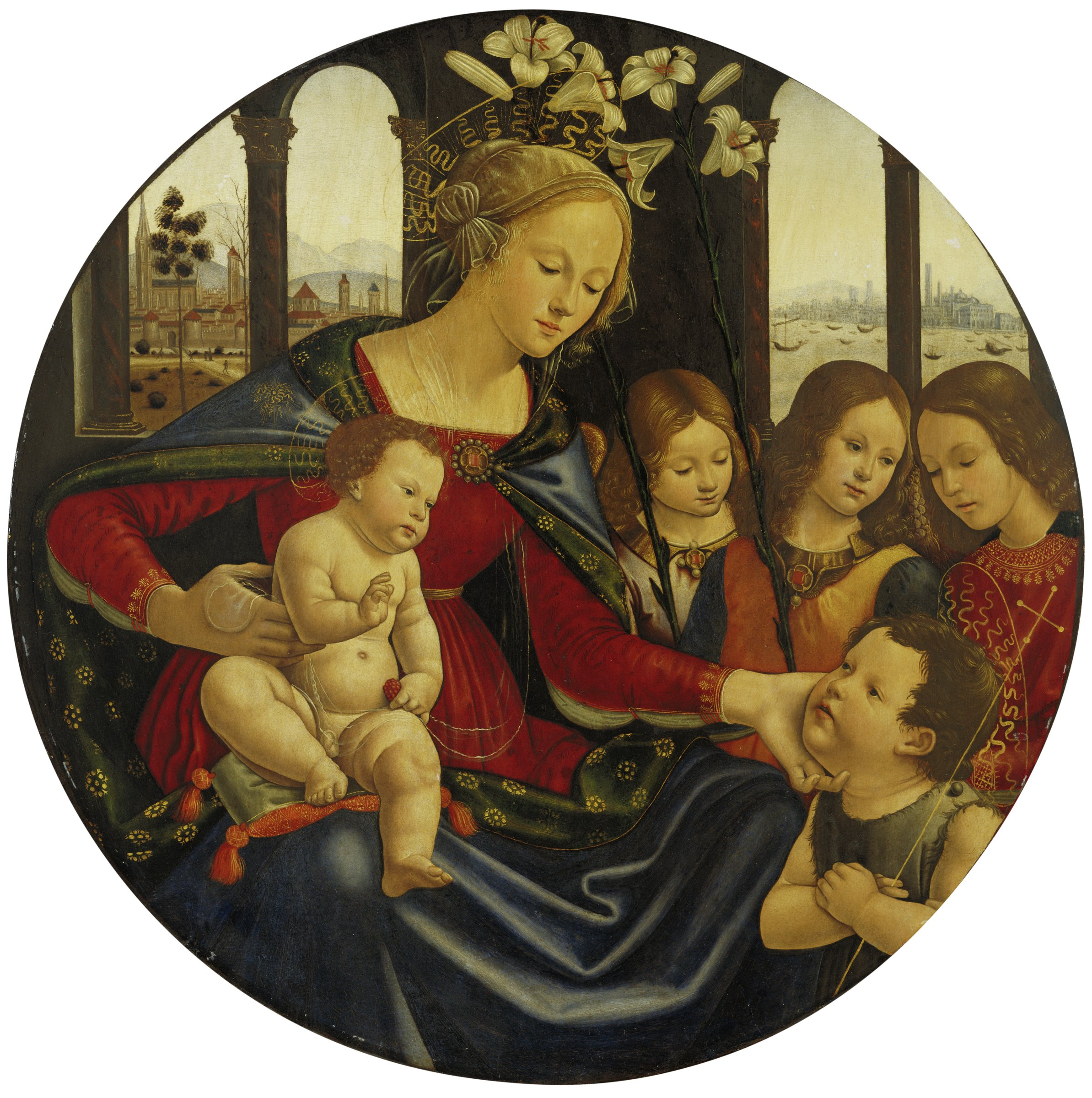 In this round painting the Virgin Mary holds the Christ Child in her lap with one hand and affectionately touches the face of the young John the Baptist with the other. Behind them stand three young angels. The setting is a room with windows behind them that look out onto an Italian landscape.