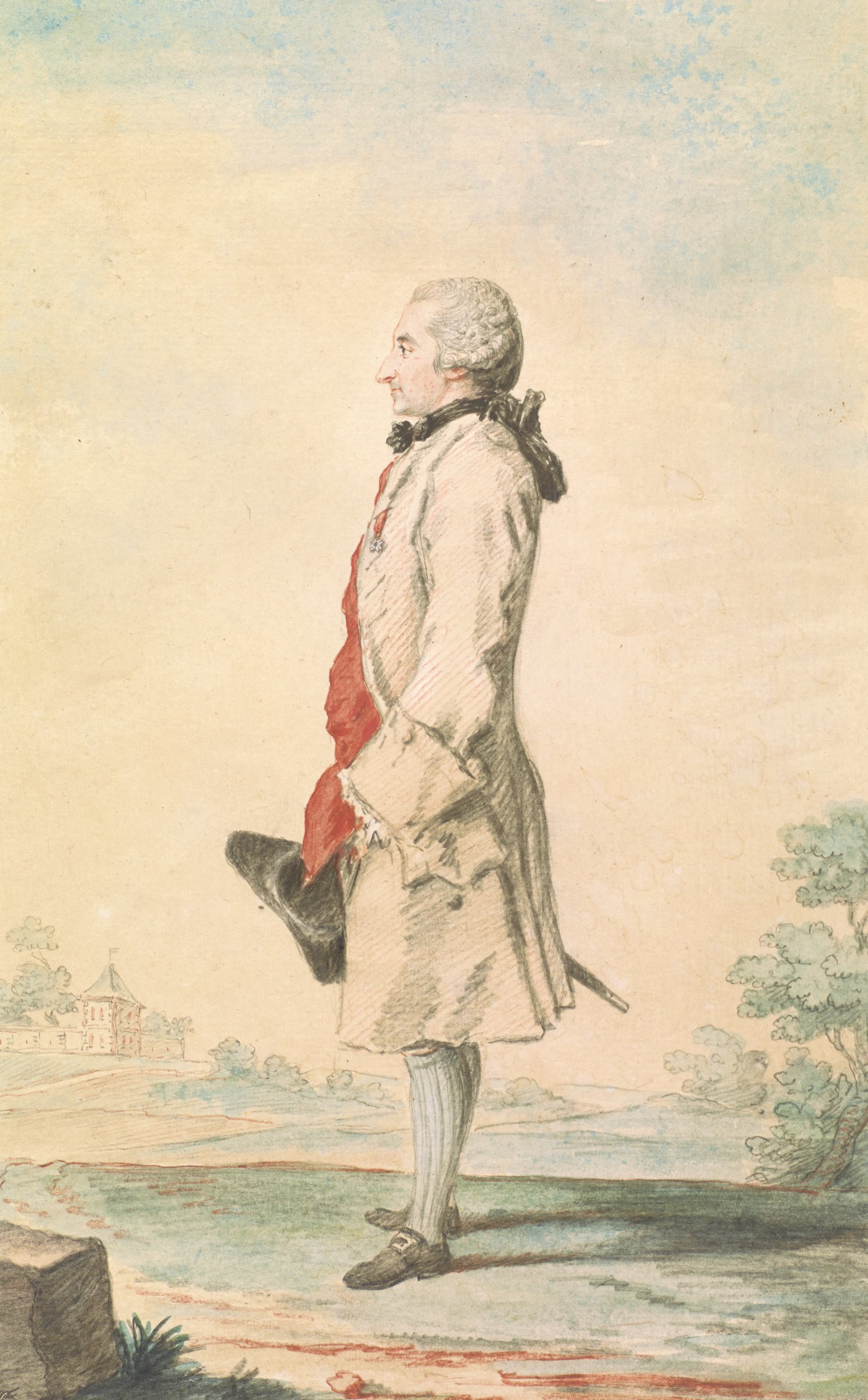 Standing man facing left, carrying a tricorn hat and sword(?) on his right side. He wears a knee-length coat, buckled shoes and blue socks to his knees. Hanging from a red ribbon on his left breast is a star-shaped medal. He stands in a landscape with a building in the far left distance.