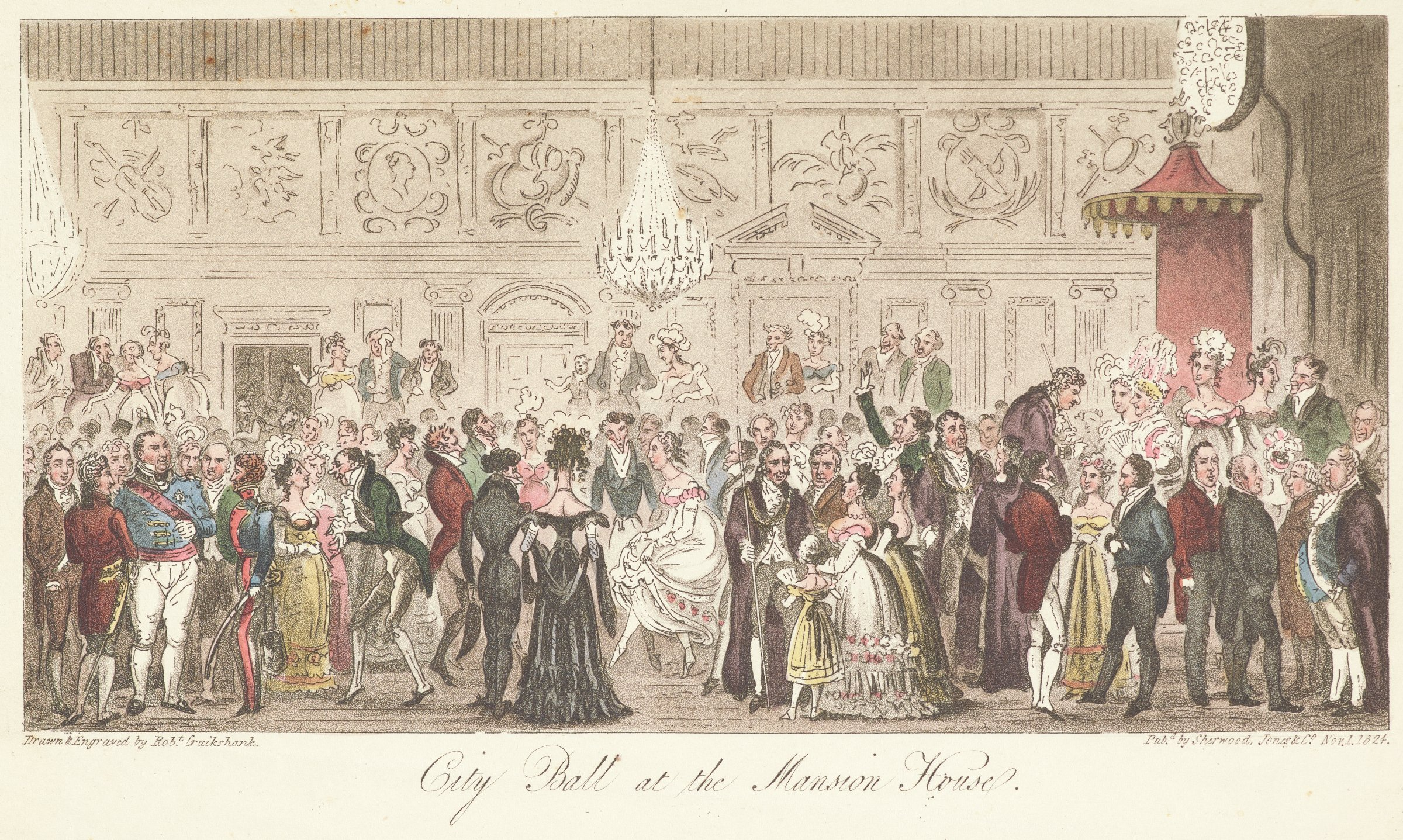 Scene of ladies and gentlemen at a ball in an elegant interior with chandeliers and a royal canopy on the right.