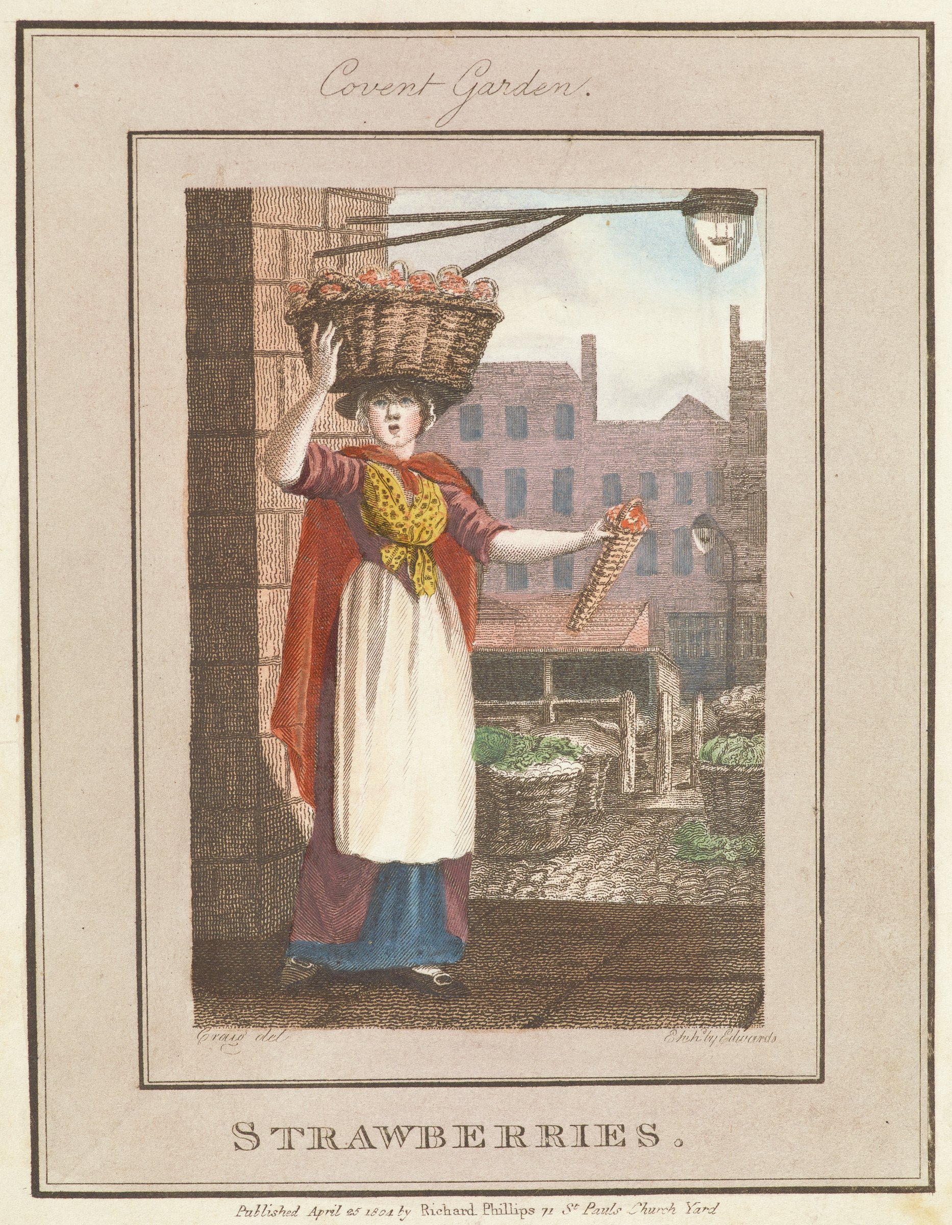 A woman stands near a brick column balancing a basket full of strawberries on her head. She holds a small, narrow basket of strawberries in her left hand. In the background are baskets of vegetables. Beyond the baskets is a city scape.