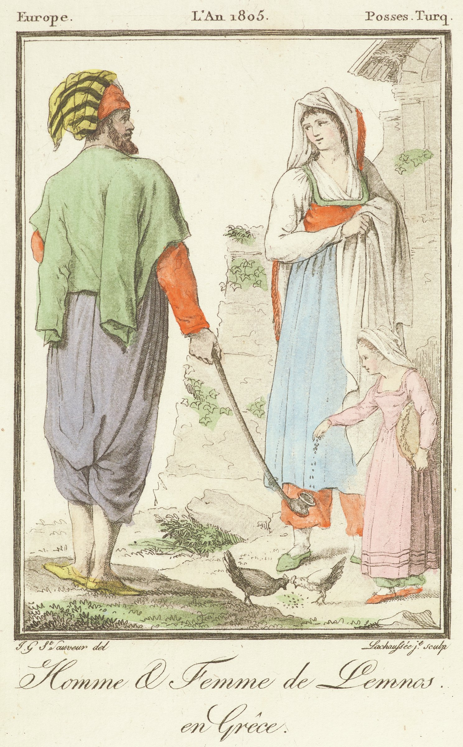 A man passes by a woman and child. The man holds out a long pipe as the child drops a substance into it.