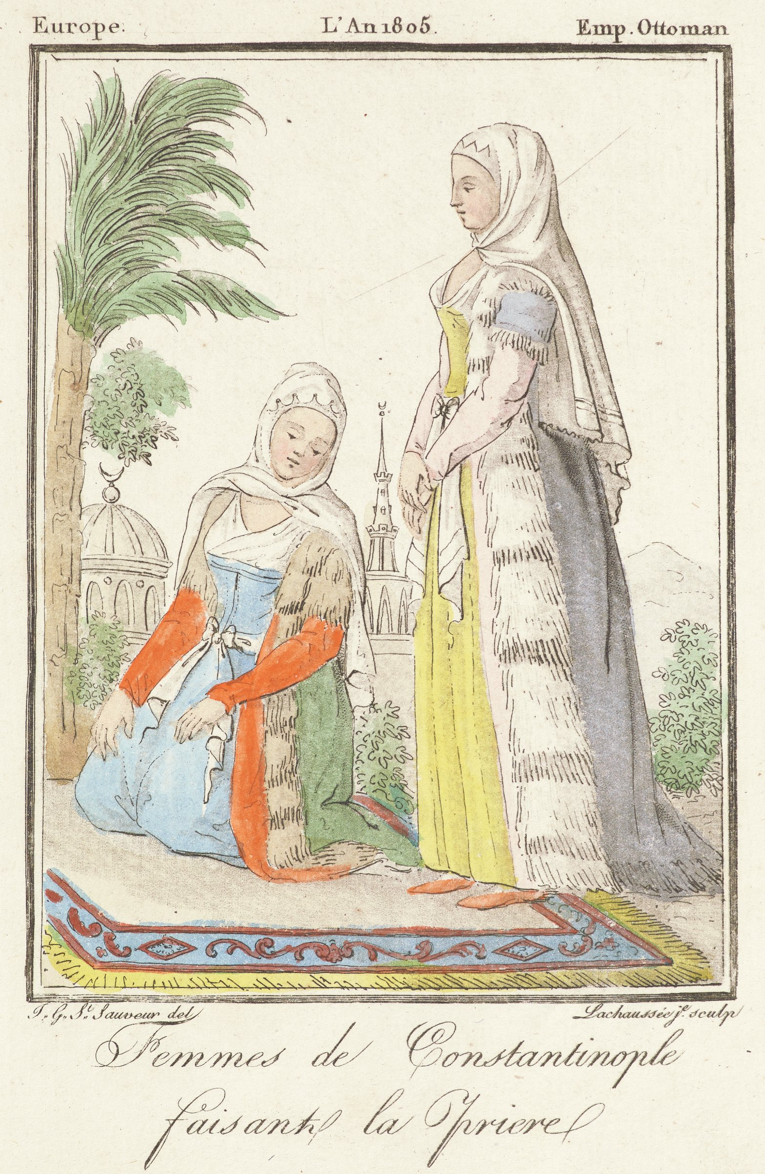 Two women are depicted standing on an ornate rug with architectural structures in the background. The woman on the left sits on her knees. Her head is bent slightly downwards. The woman on the right stands in profile view with her hands crossed infront of her.
