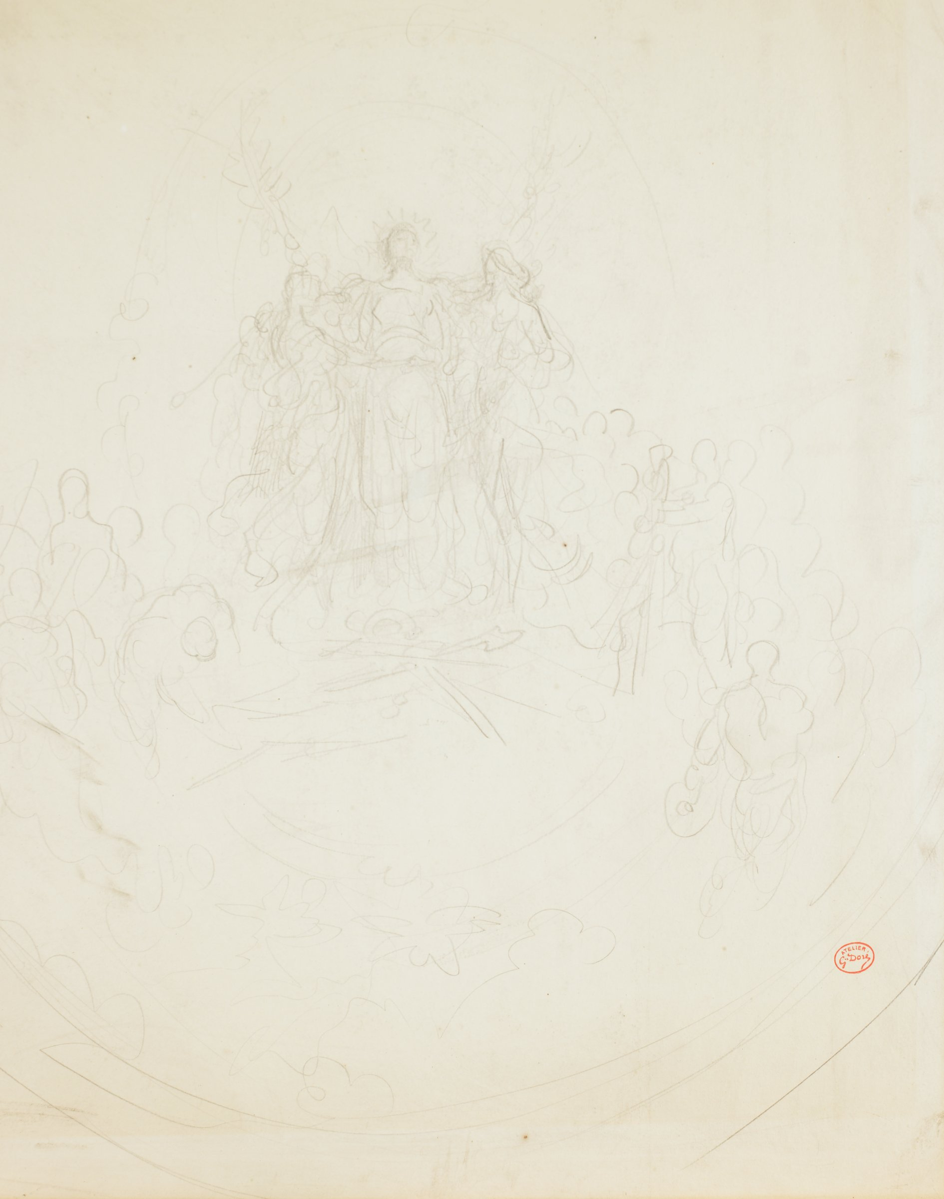 A figure stands at the center facing forward. Figures flank him on either side. A crowd of other figures drawn in outline populate the sides of the composition.