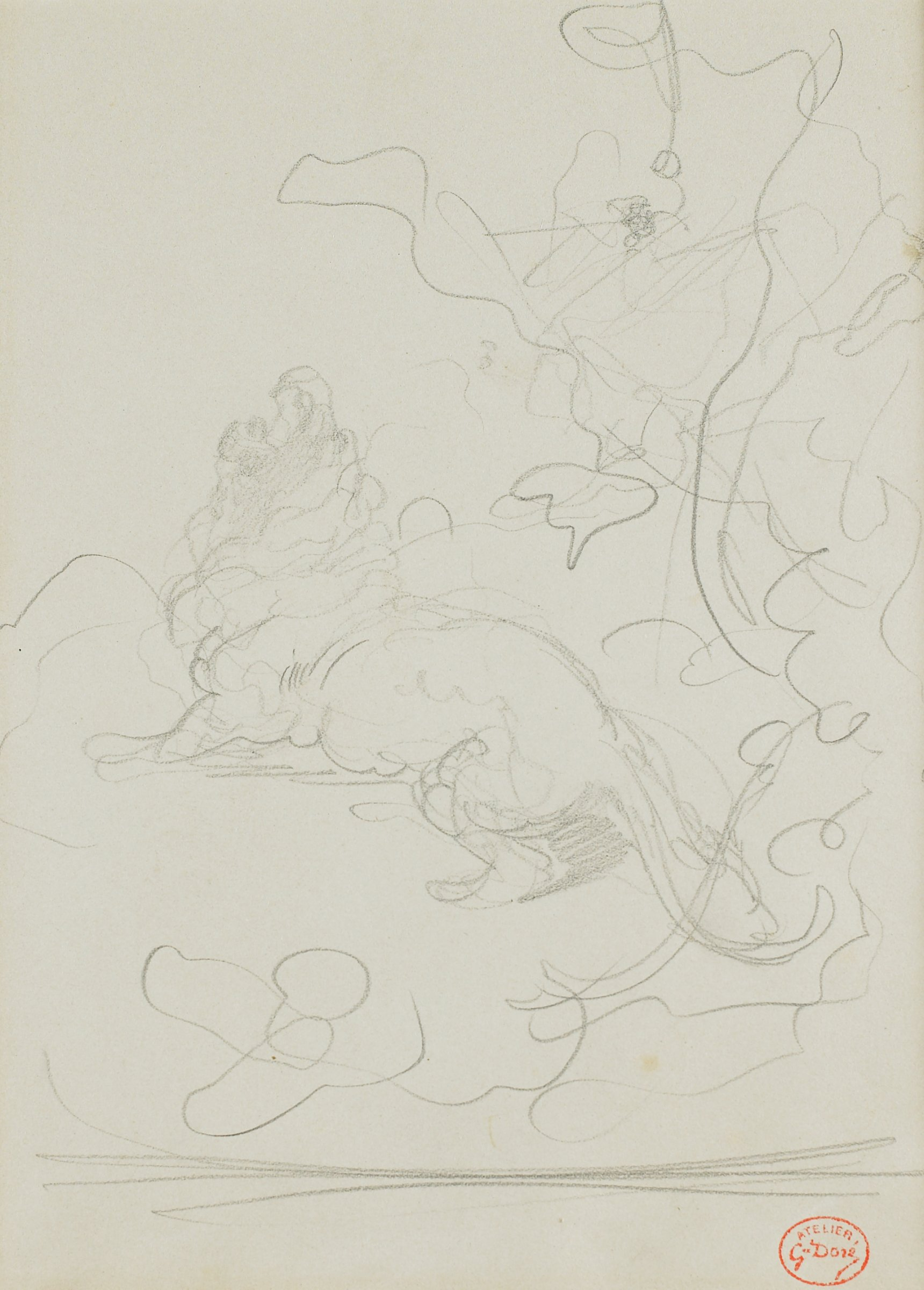 A lion in profile roars with his head tilted upwards. Swirling marks make up the landscape.