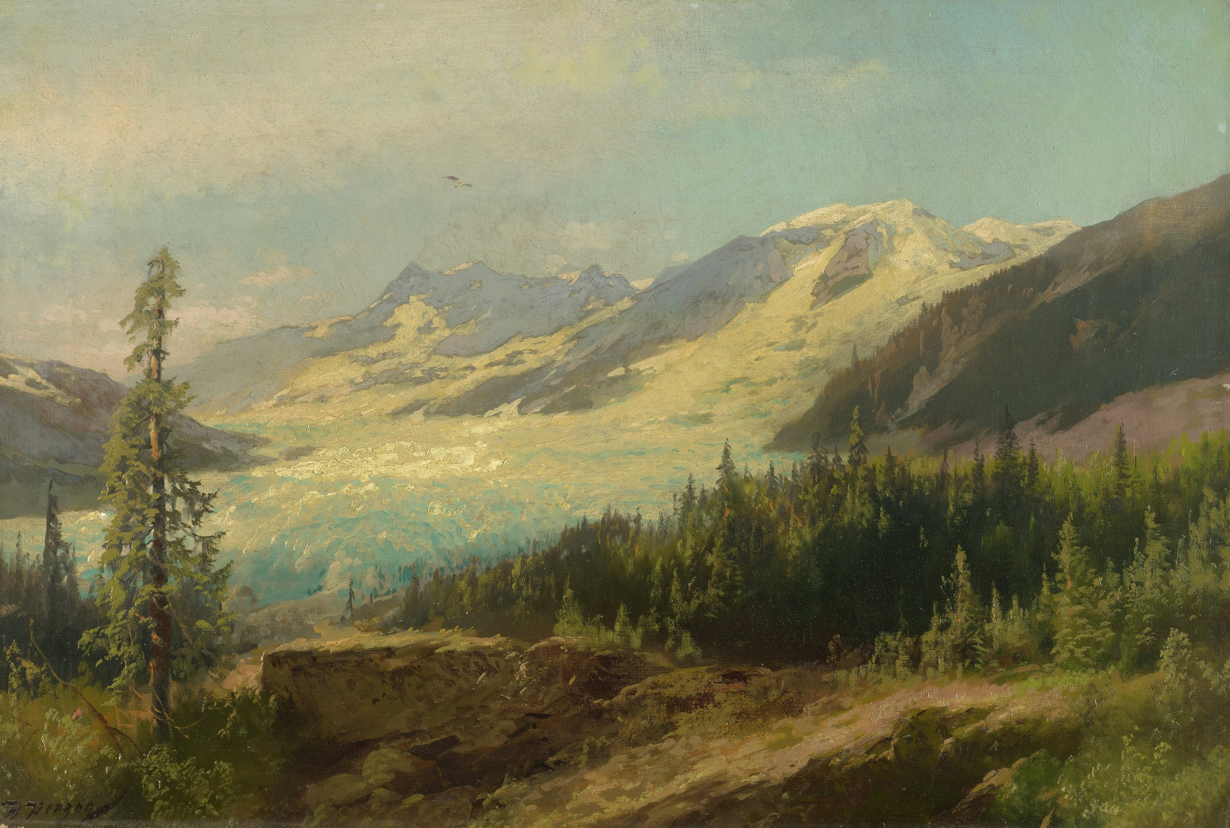 Pines in the Mountains, Herman Herzog, oil on canvas