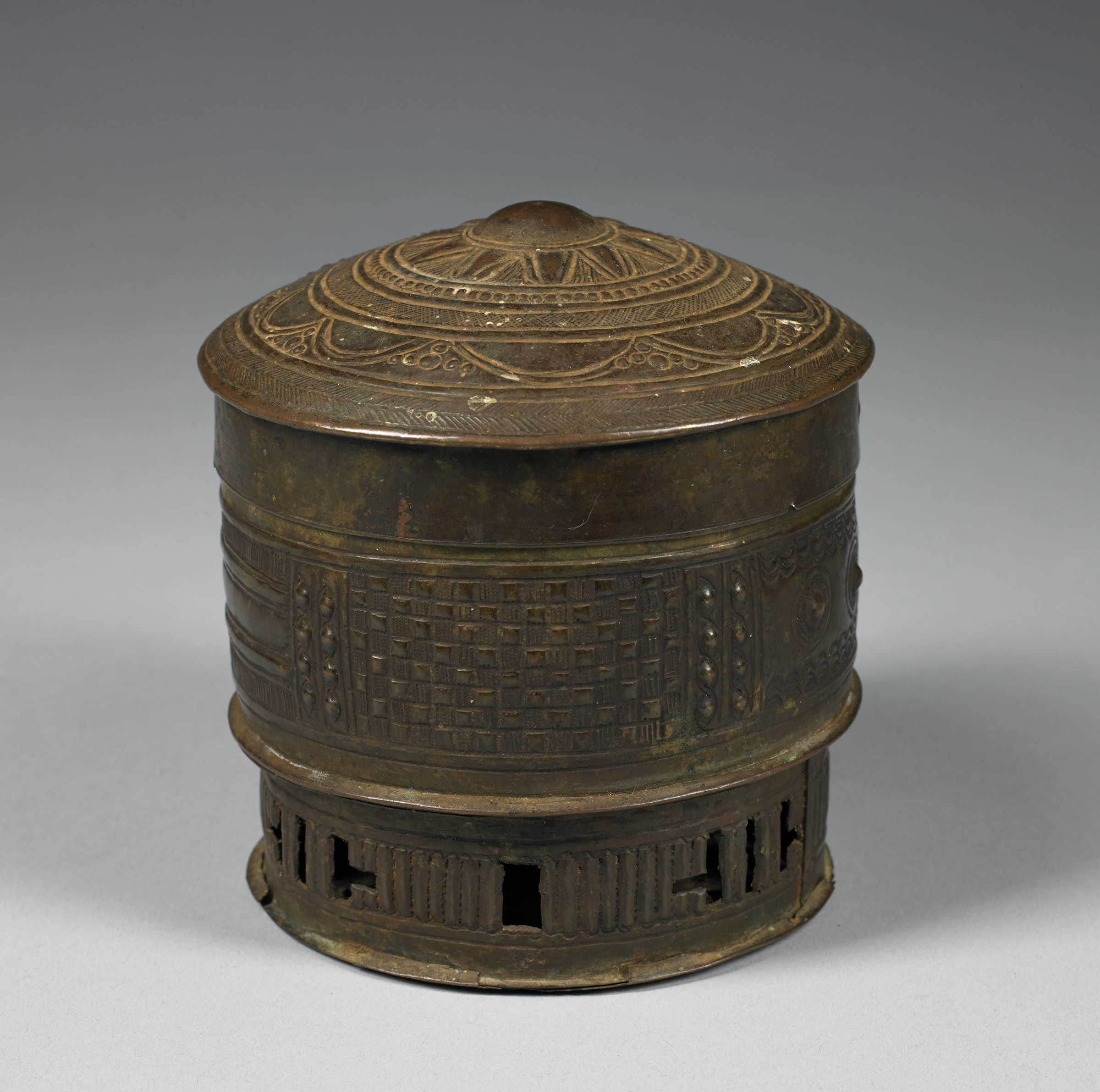 Container with Lid (Forowa), Asante people, Ghana, African, brass