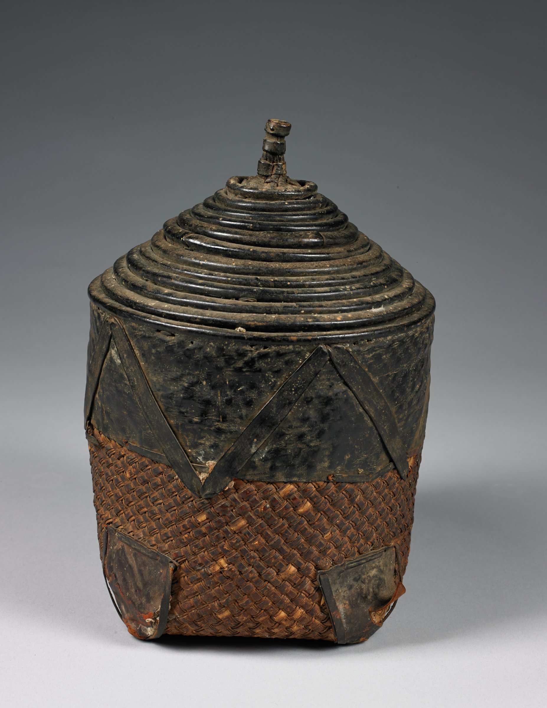Nesting Baskets, Lobi people, Côte d'Ivoire, African, fiber, leather, string, metal, wood