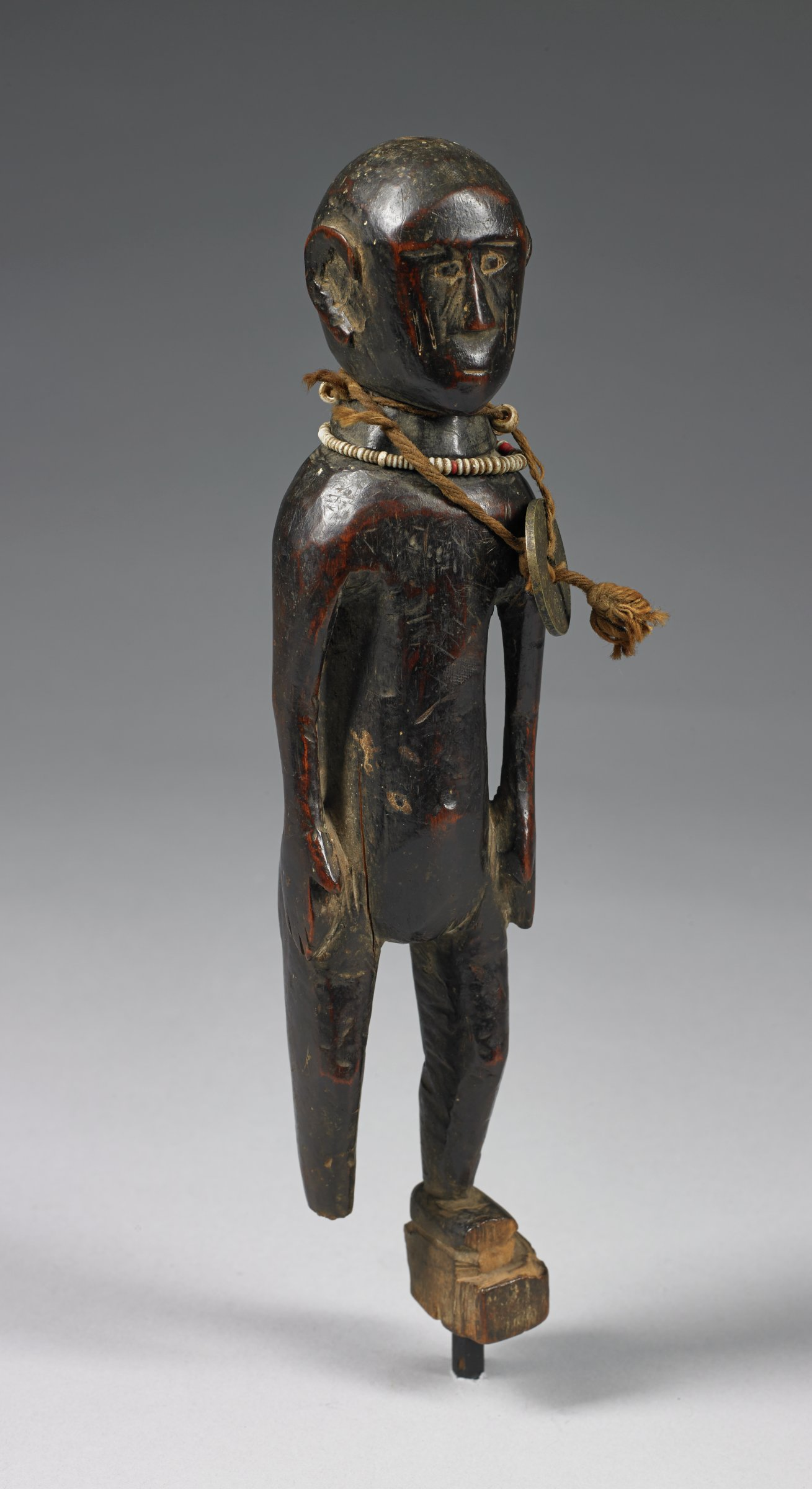 Standing Figure, Temne people, African, wood, glass beads, British West Africa halfpenny coin and cord