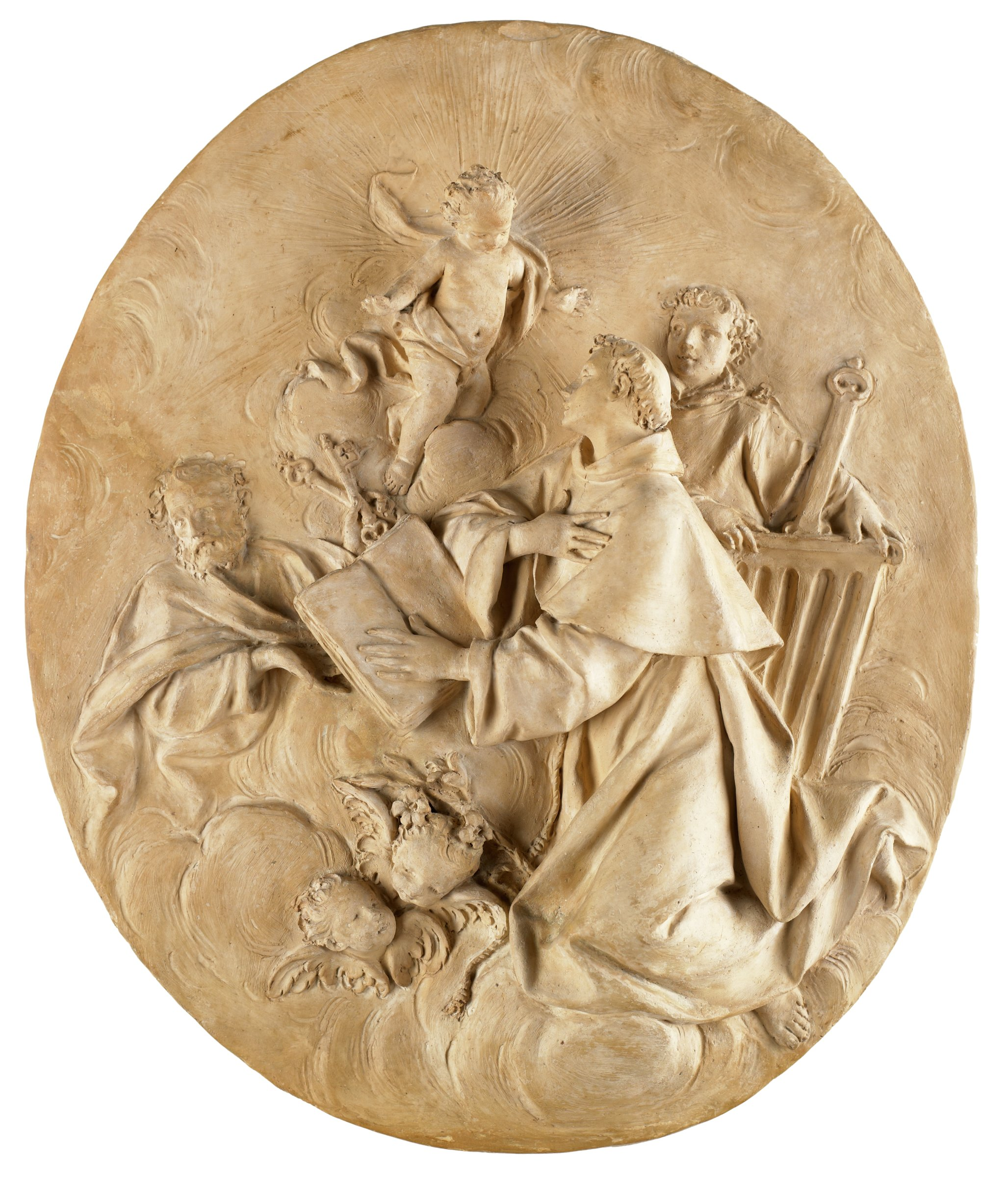 In an oval format: in the center, in highest relief, Saint Anthony of Padua kneels on clouds, with his left hand placed on the open book before him and his right pressed over his heart. He gazes above him at the Christ Child. Incised rays radiate from the Child. Below Anthony's book are lilies, and two cherubim. In front of Anthony, in lower relief, is a half-length St. Peter holding two keys in his left hand. Behind Anthony, also in low relief, is St. Lawrence with both hands resting on the gridiron in front of him.