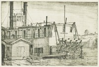 "This image is created in black ink on paper. It represents a steamboat labeled ""R. G. McCalla"" on the water. The boat is at a dock on which there is a dockhouse and a small rowboat. In the background, two figures row on the water. Beyond their boat, a hill rises in the background. There is a house and a power pole on top of the hill."