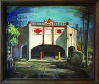 This painting represents an architecturally ornate Gulf Oil gas station with two pumps standing on the street in front of the building and Gulf Oil logos on the facade. The building stands at a spot where two streets meet. Behind the building is blue sky, a gas holder in the upper left corner, and the Birmingham city skyline in the upper right corner. In the foreground is a tree, power poles, and a car. The streets in front of the gas station are lined with streetcar tracks.