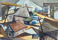 This watercolor on paper represents a stylized view of the skyline of Birmingham. The viewer looks toward downtown through a residential neighborhood of blocky houses at odd angles (five total with red, green, and gray roofs).