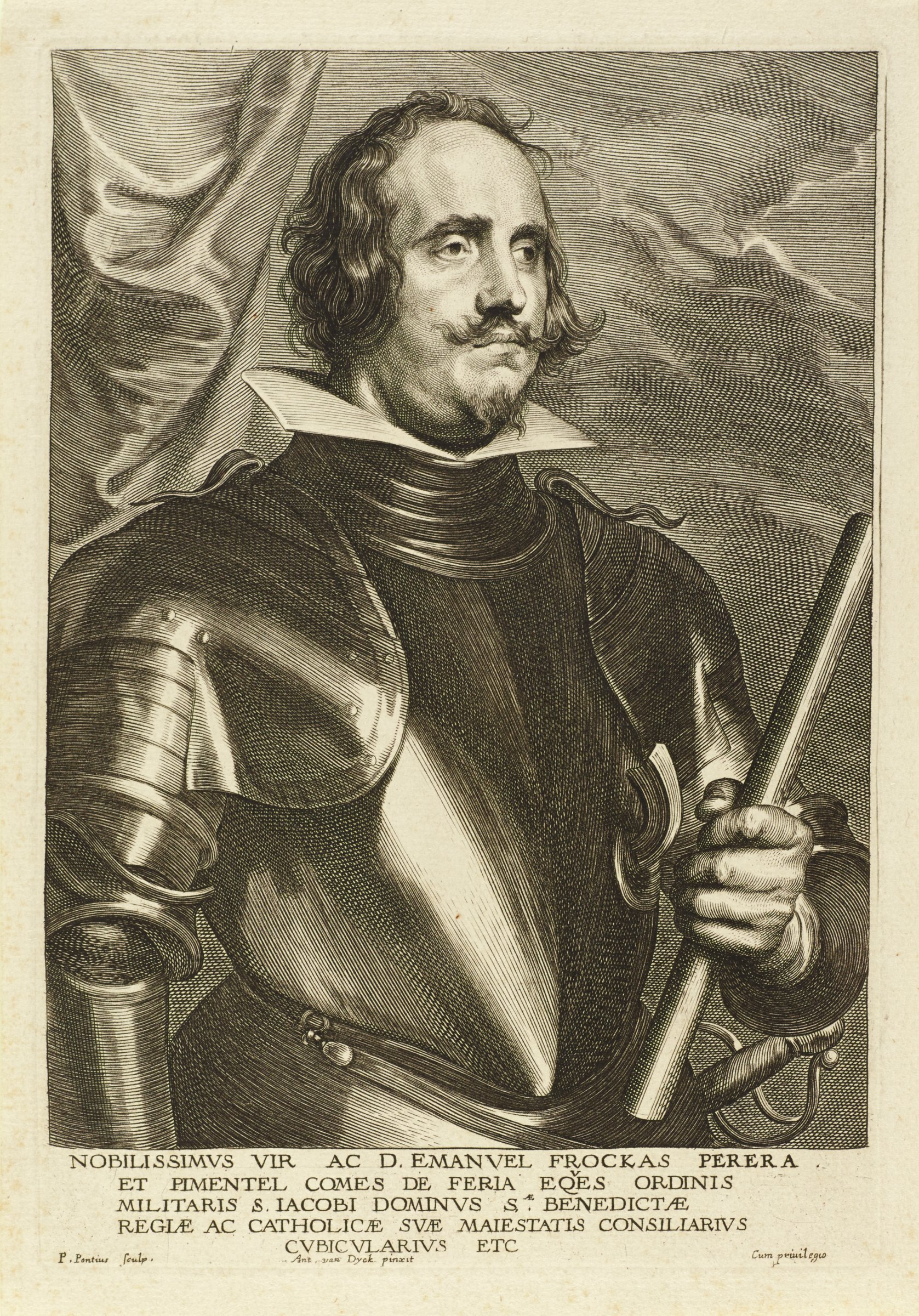 Emanuel Frockas, Count of Feria, was a general in Spanish service. He is seen here in portrait from the waist up, slightly angled towards the right, looking away from the viewer. He wears armor and holds a baton in his left hand. He stands infront of a curtain and cloudy sky. This is from the Gillis Hendricx edition of the Iconography (Icones Principum Virorum Doctorum, Pictorum Chalcographorum Statuorum nec non Amatorum Pictoriae Artis Numero Centum), published in 1645.