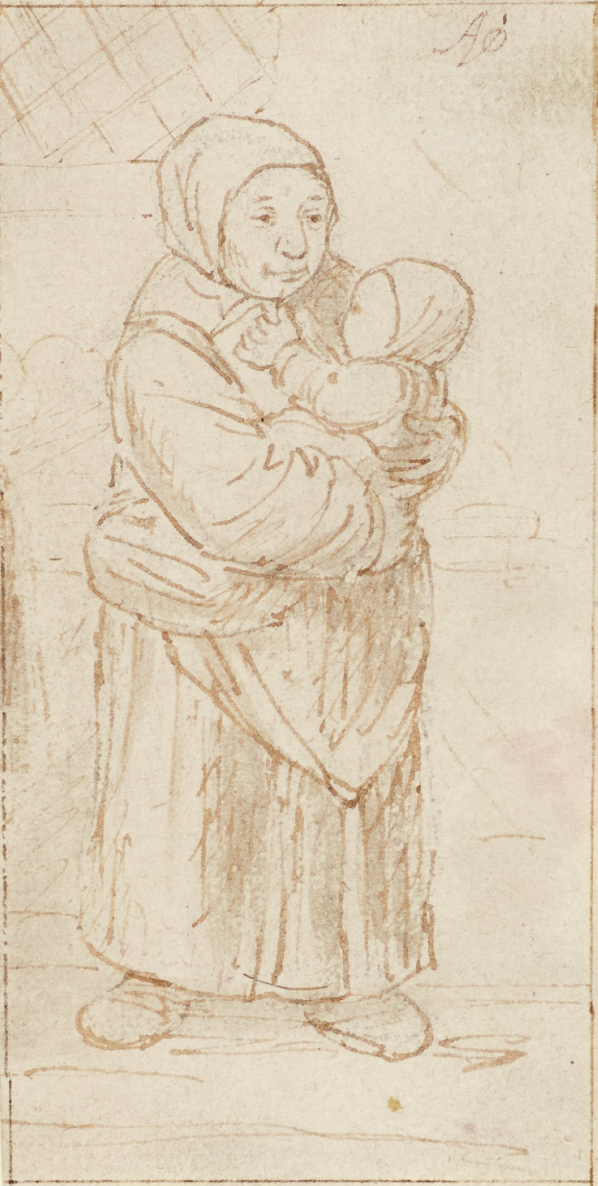 A woman stands cradling a baby in her arms. She stands facing slightly right as the baby faces her chest.
