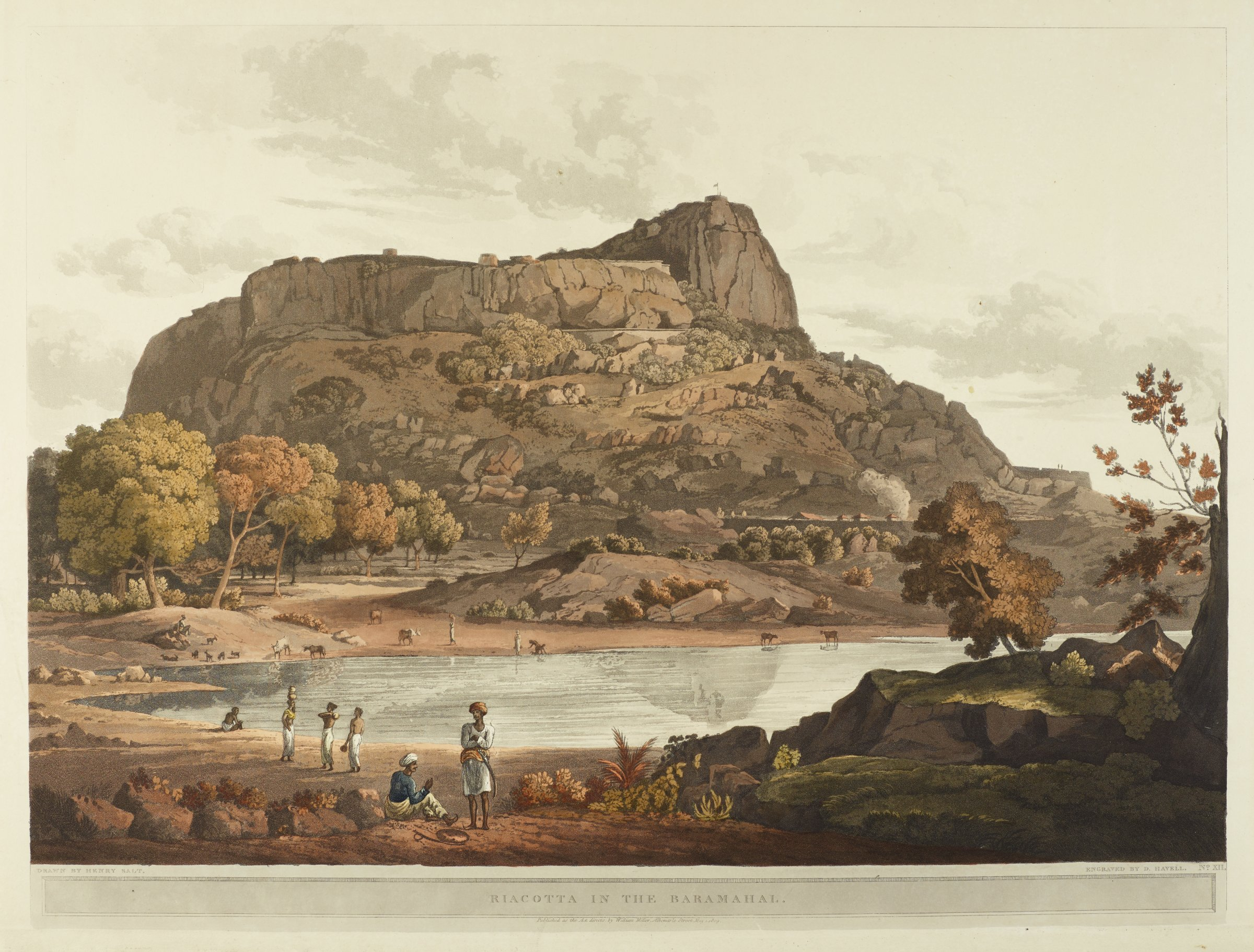 A landscape scene with figures is shown. A body of water populates the middleground, and a rocky hill sits in the background.