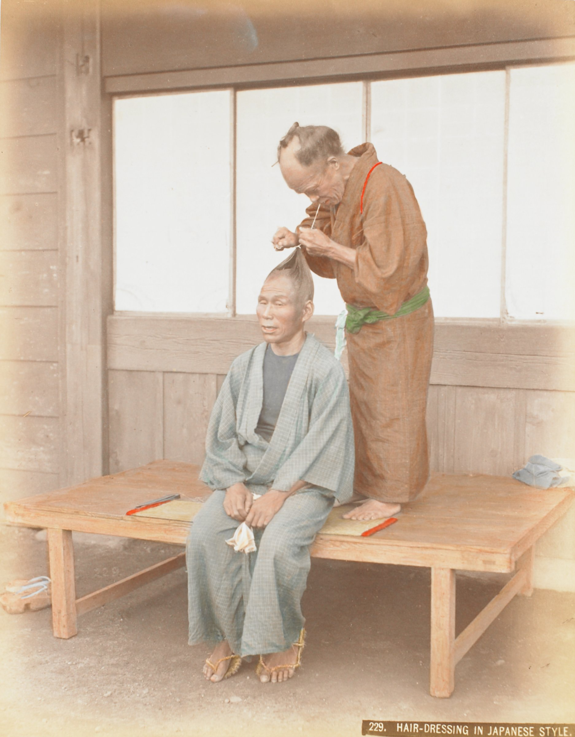 Samurai (.6, recto); Hair Dressing in Japan (.7, verso), Attributed to Kusakabe Kimbei, hand-colored albumen prints mounted to album page