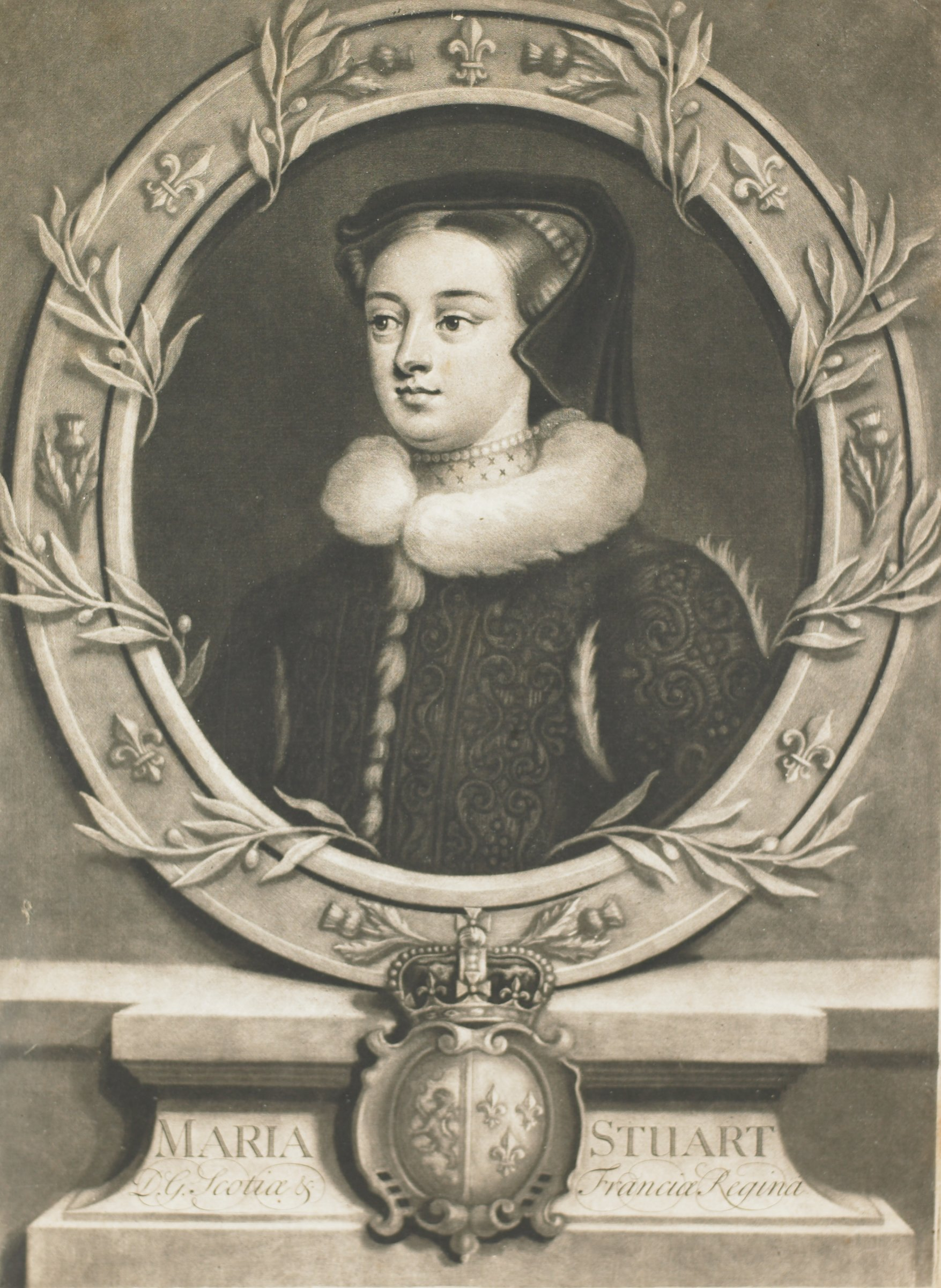 A portrait of a woman in half view. She is turned slightly to the left. She is surrounded by an oval frame decorated with fleurs de lis and vines.  A coat of arms is seen at the bottom center.