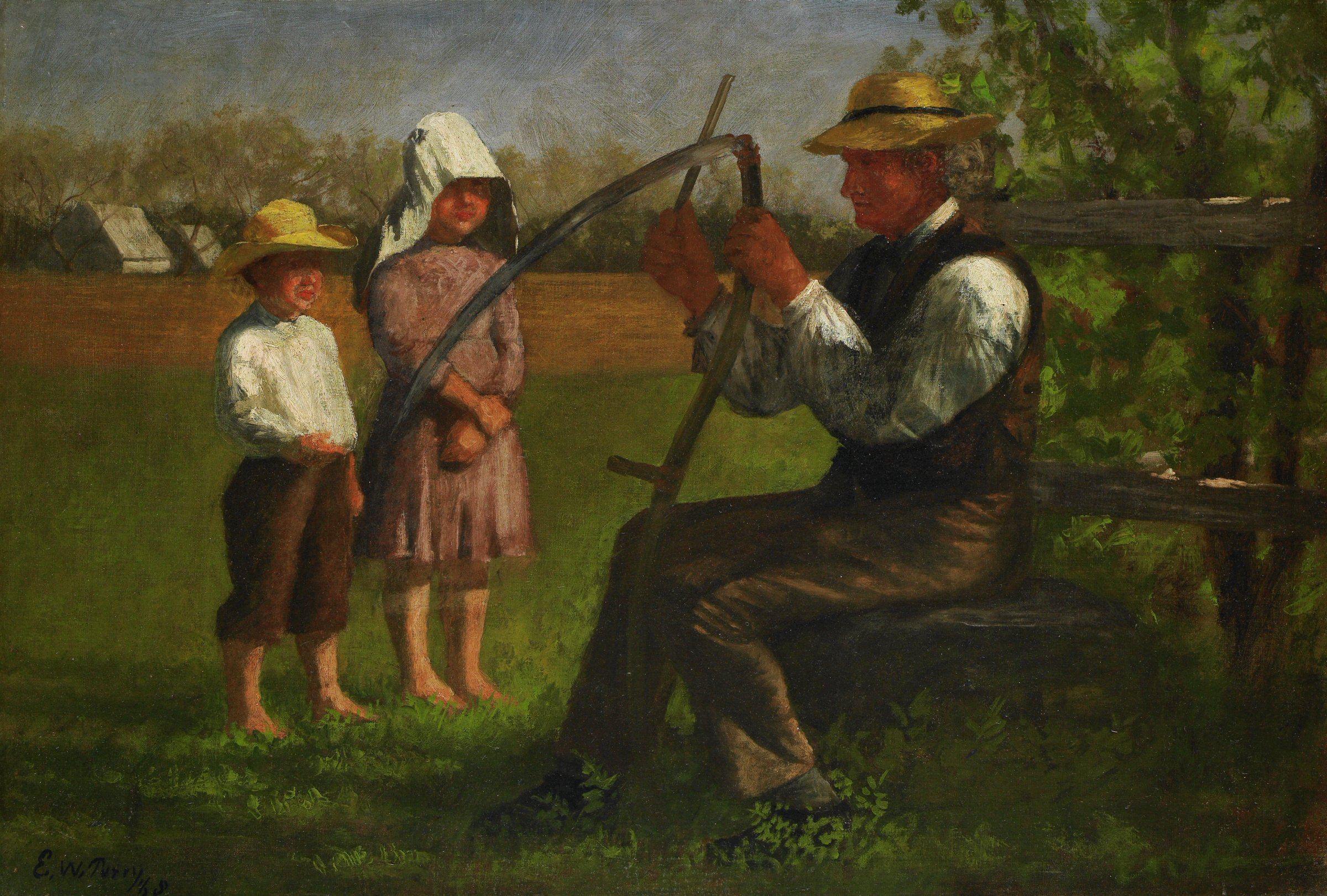 Sharpening the Scythe, Enoch Wood Perry, oil on canvas