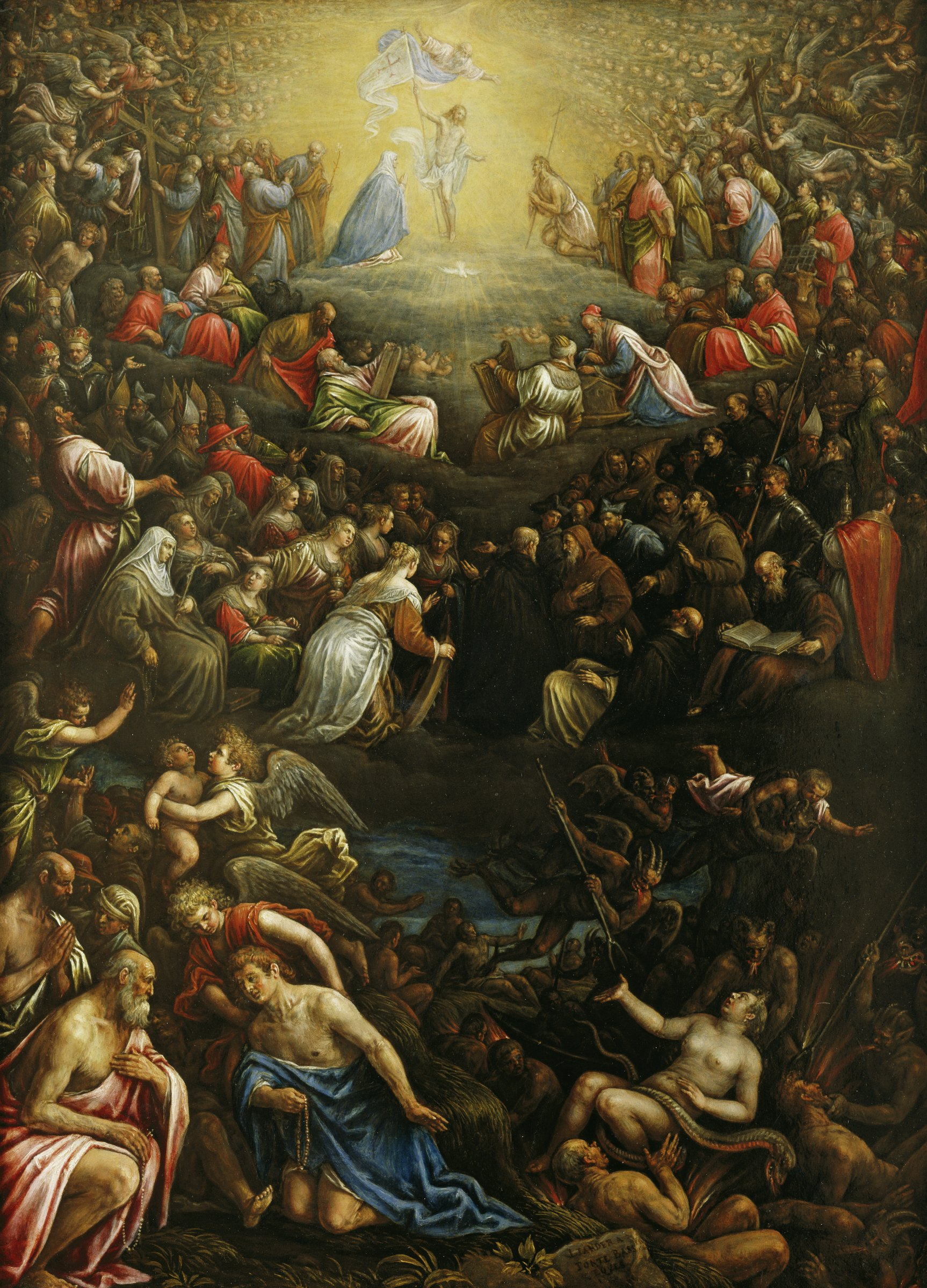 In this painting, Jesus has returned to earth and divided a sea of humanity into the righteous on the left and the damned, who are being tortured by devils, on the right.