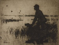 The Duck Hunter, Frank Weston Benson, etching