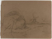 Haystack with Wind Mills, Lucille Douglass, pencil