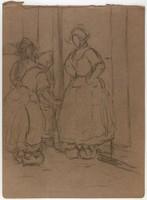 Three Dutch Girls, Lucille Douglass, charcoal