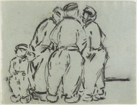 Four Dutch Males, Lucille Douglass, charcoal