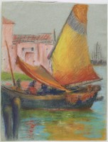 Boat & Buildings, Lucille Douglass, pastel