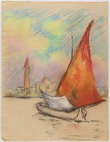 Sailboat, Buildings in Background, Lucille Douglass, pastel