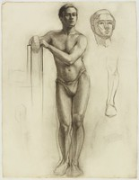 Standing Male Nude, Lucille Douglass, charcoal on machine-made laid paper
