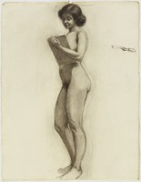 Standing Female Nude with Book, Lucille Douglass, charcoal on paper