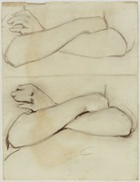 Two Sketches of Crossed Arms, Lucille Douglass, charcoal on paper