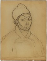 Male Half Figure, Lucille Douglass, charcoal on paper