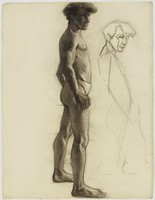Standing Male Nude, Lucille Douglass, charcoal