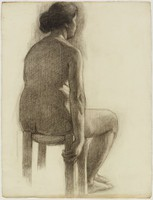 Seated Female Nude, Lucille Douglass, charcoal on machine-made laid paper