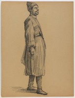 Costumed Standing Male Figure, Lucille Douglass, charcoal