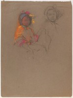 Female Half Figures, Lucille Douglass, pastel and charcoal