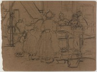Market Scene, Lucille Douglass, charcoal