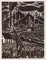 Défilé mineurs, Frans Masereel, woodcut