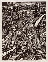 Overlapping and winding railroad tracks make up the composition. In between the tracks are scenes of various cityscapes.