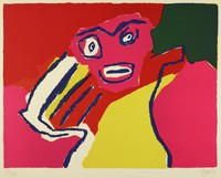 A pink pink face with blue eyes, eyebrows, and mouth, a yellow, blue, red, and white body, and a black background.