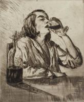 The Drinker, Mortimer Borne, drypoint
