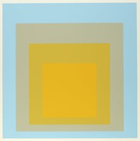 An abstract composition made up of four squares layered onto one another. The top square is yellow. Behind it is dark yellow, light grey, then light blue.
