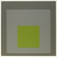 An abstract composition made up of three squares layered onto one another. The top square is green. Behind it is light grey then dark grey.