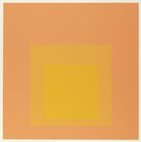 An abstract composition made up of three squares layered onto one another. The top square is yellow. Behind it is yellowish-orange then orange.